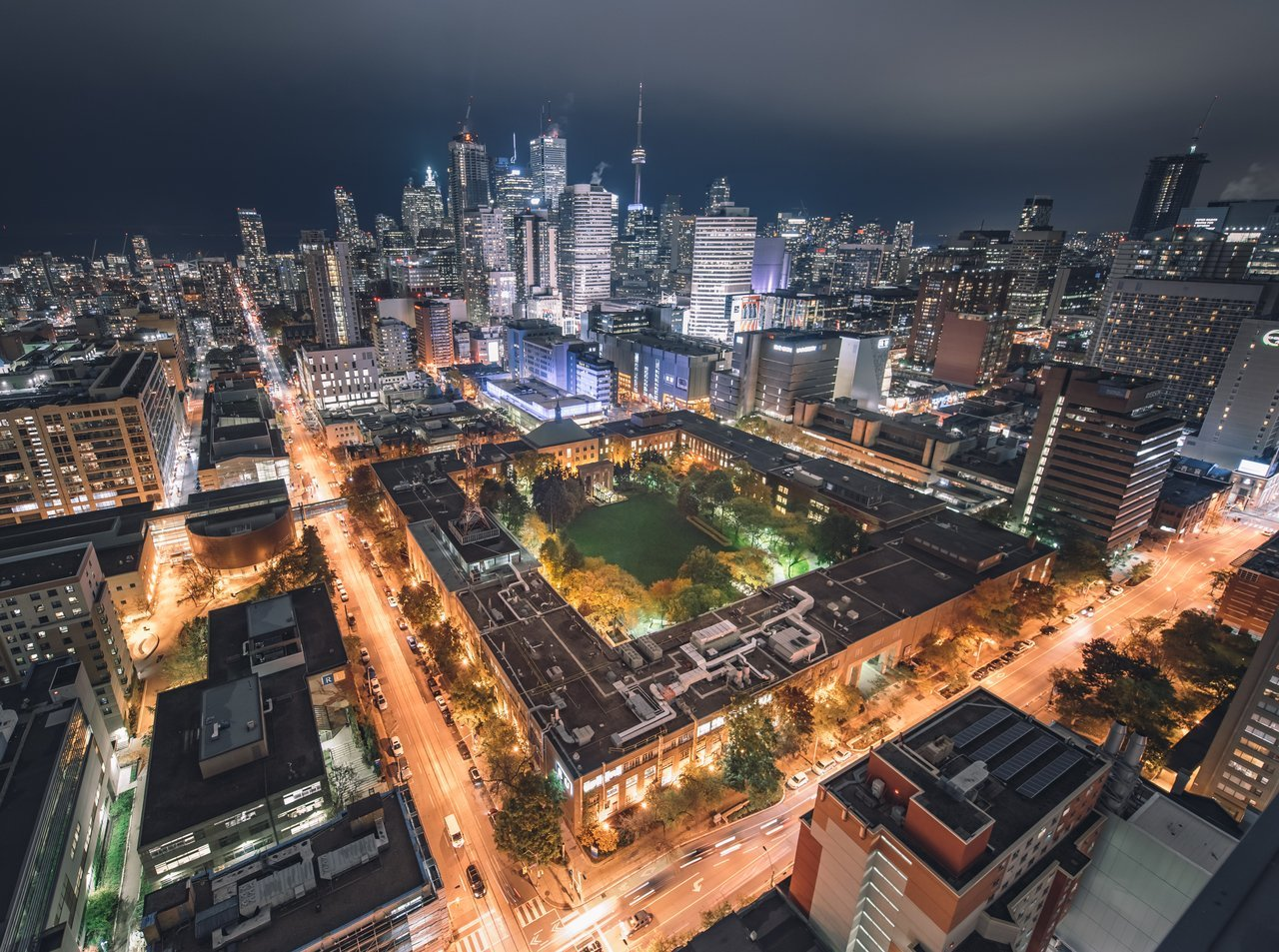 Ryerson Quad Aerial View at night